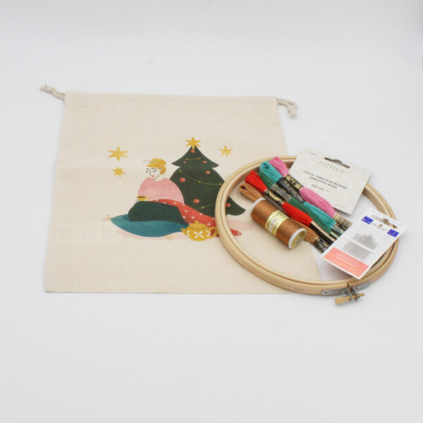 Display of the content of Elodie Blueberry's Christmas embroidery kit