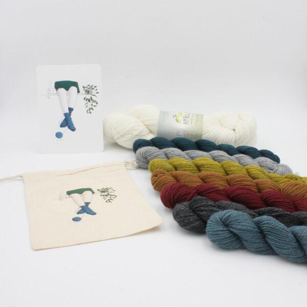 Présentation d'un kit de chaussettes pour le modèle Hafer de Emma Ducher avec illustrations de Charline MZD et écheveaux de Amble de The Fibre Co.