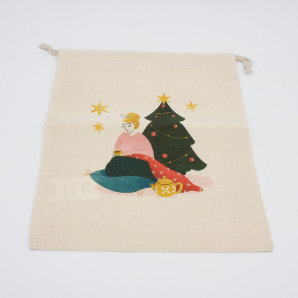 Display of the printed bag from Elodie Blueberry's Christmas embroidery kit