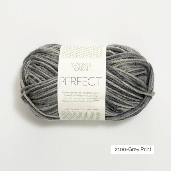 Une pelote de Perfect de Sandnes Garn coloris Grey Print (à rayures grises)