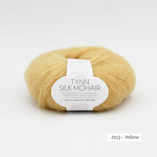 A ball of Sandnes Garn's Tynn Silk Mohair in the Yellow colorway