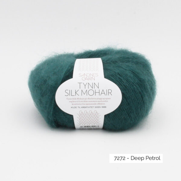 A ball of Sandnes Garn's Tynn Silk Mohair in the Deep Petrol colorway