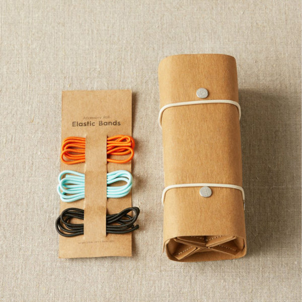 Display of Cocoknits' Accessory Roll, closed, with its alternative elastic bands