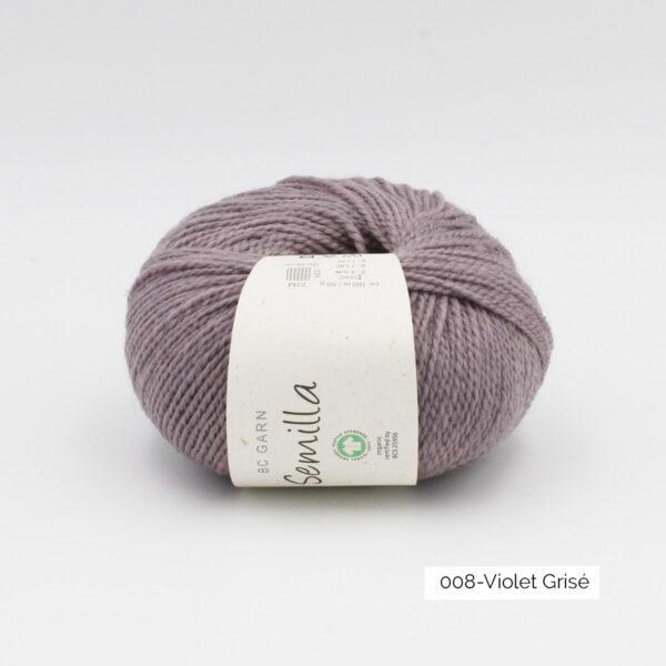 Une pelote de Semilla GOTS de BC Garn coloris Violet Grisé