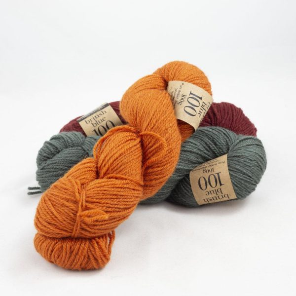 Display of three skeins of British Blue Wool by Erika Knight in assorted colours