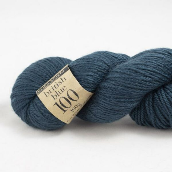 Zoom on a skein of British Blue Wool by Erika Knight in the Regents Park colorway