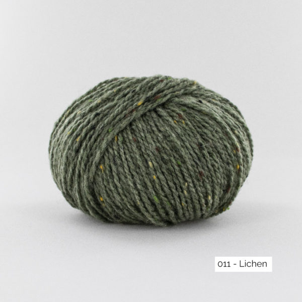 A ball of Super Tweed by Fonty in the Lichen (011) colorway