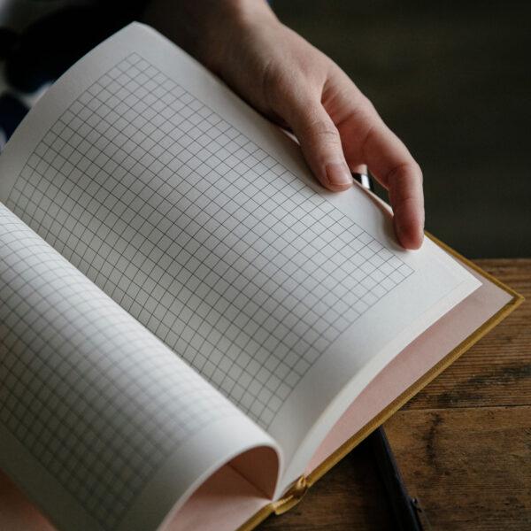 Présentation des pages quadrillées du journal de tricot Knitting Notes de Laine