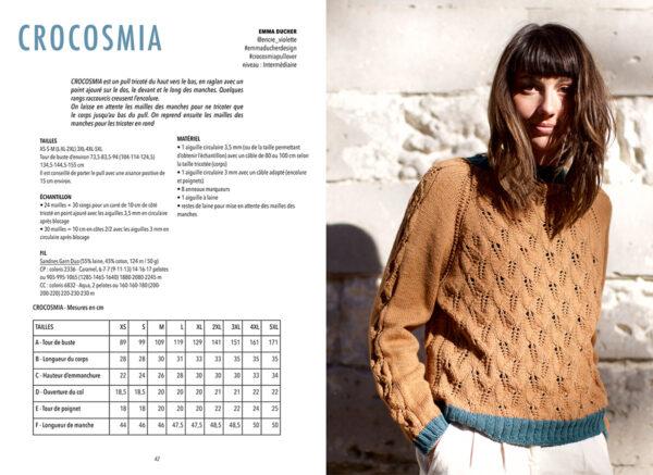 Double page de présentation du modèle Crocosmia d'Emma Ducher paru dans le livre Woolship édité par Julie Partie pour Lili Comme Tout