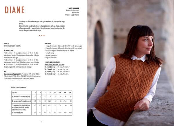 Double page de présentation du modèle Diane d'Alice Hammer paru dans le livre Woolship édité par Julie Partie pour Lili Comme Tout