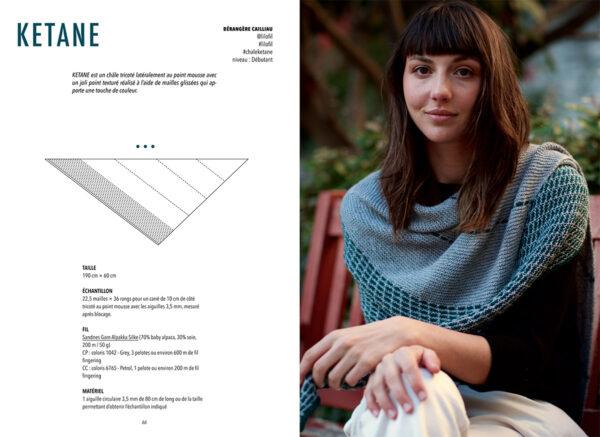 Double page de présentation du modèle Kétane de Bérangère Cailliaud paru dans le livre Woolship édité par Julie Partie pour Lili Comme Tout