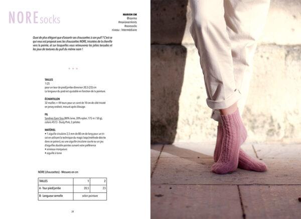 Double page de présentation du modèle Nore, les chaussettes, de Marion Em paru dans le livre Woolship édité par Julie Partie pour Lili Comme Tout