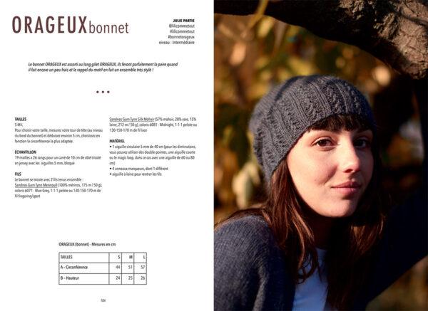 Double page de présentation du modèle Orageux, le bonnet, de Julie Partie paru dans le livre Woolship édité par Julie Partie pour Lili Comme Tout