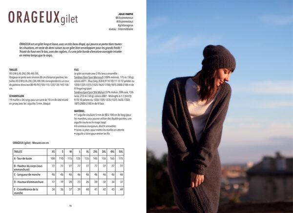 Double page de présentation du modèle Orageux de Julie Partie paru dans le livre Woolship édité par Julie Partie pour Lili Comme Tout