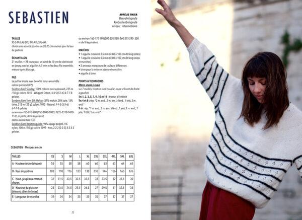 Double page de présentation du modèle Sebastien d'Aurélie Tixier paru dans le livre Woolship édité par Julie Partie pour Lili Comme Tout