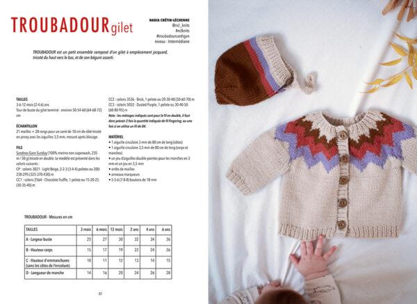 Double page de présentation du modèle Troubadour de Nadia Crétin-Léchenne paru dans le livre Woolship édité par Julie Partie pour Lili Comme Tout