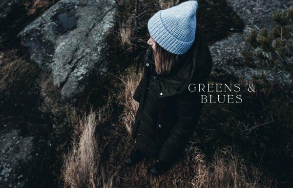 Double page de présentation de la section Greens & Blues du livre Urban Knit Dream Cozy