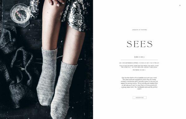 Présentation du modèle de chaussettes Sees du livre Urban Knits de Leeni Hoimela