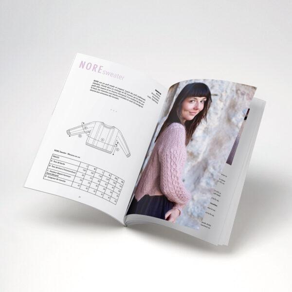 Double page de présentation du modèle Nore de Marion Em paru dans le livre Woolship édité par Julie Partie pour Lili Comme Tout