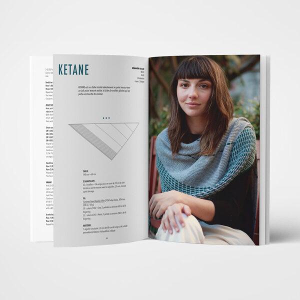 Double page de présentation du modèle Ketane de Bérangère Cailliaud paru dans le livre Woolship édité par Julie Partie pour Lili Comme Tout