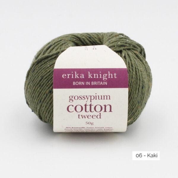 Une pelote de Gossypium Cotton Tweed d'Erika Knight coloris Kaki
