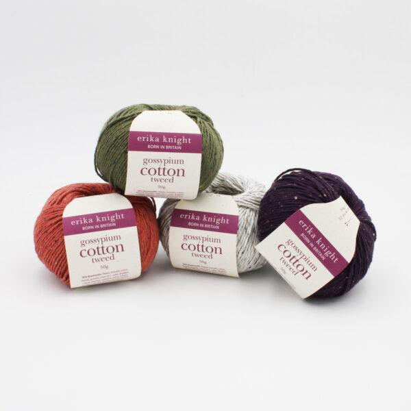 Présentation de 4 pelotes de Gossypium Cotton Tweed d'Erika Knight dans des coloris assortis