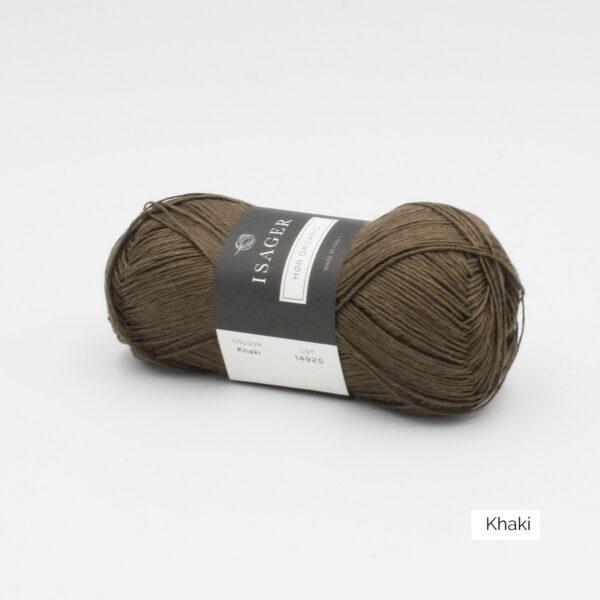 Une pelote de lin à tricoter Hor d'Isager coloris Khaki