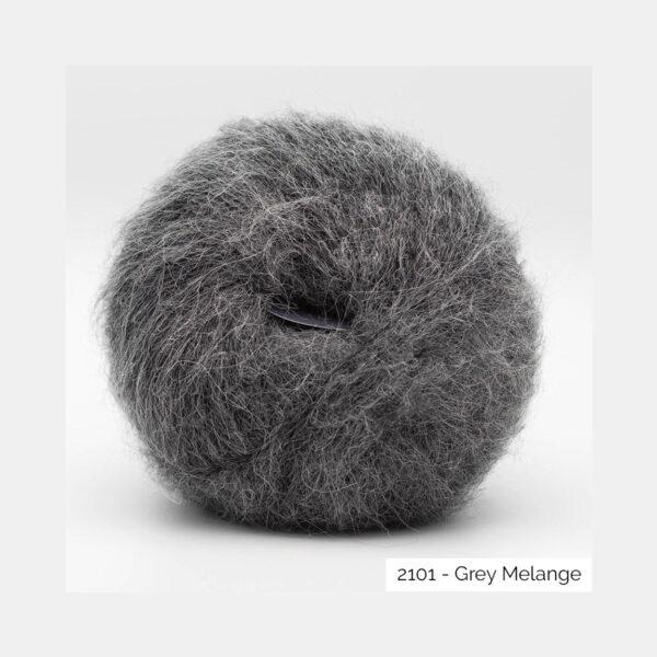 A ball of Baby Silk Fluffy by Kremke Soul Wool in the Grey Melange colorway