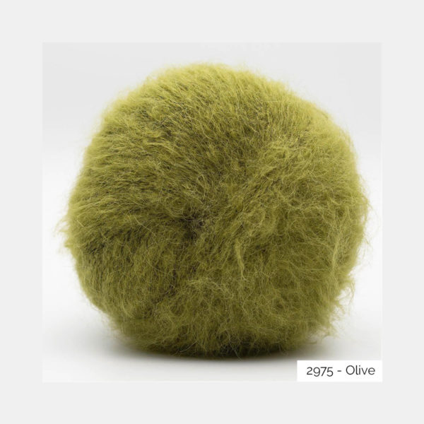 A ball of Baby Silk Fluffy by Kremke Soul Wool in the Olive colorway