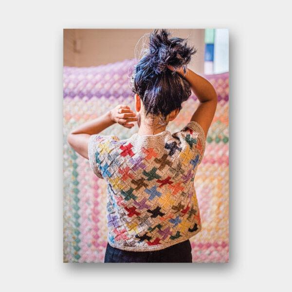 Présentation de la veste Lucky Pieces, patron de tricot du magazine Pom Pom Quarterly n°36 printemps 2021