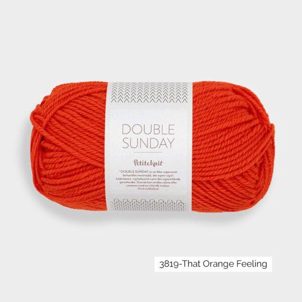 Une pelote de Double Sunday de Sandnes Garn coloris That Orange Feeling (orange rouge vif)