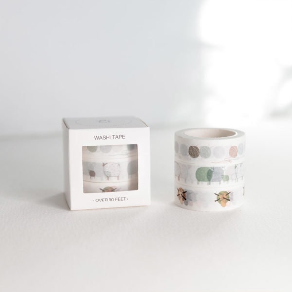 """Display of a set of three rolls of washi tape designed by Twig & Horn on the """"yarn and knitting"""" theme, in their packaging"""