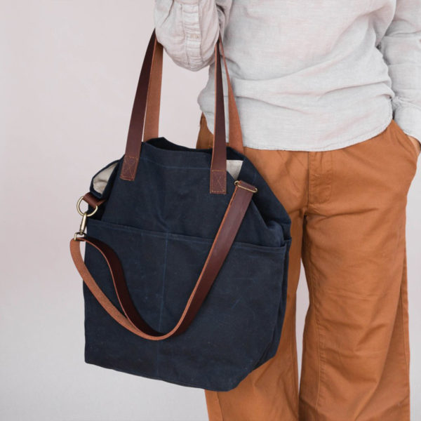 Display of a Waxed Crossbody bag by Twig & Horn in the Navy colorway