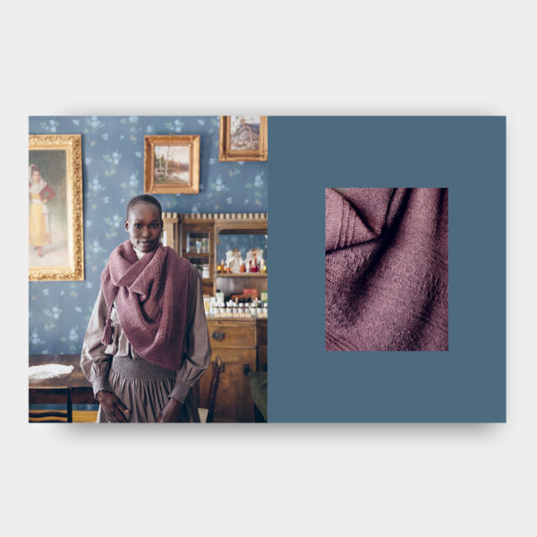Double page of the book 52 Weeks of Shawls, published by Laine Magazine