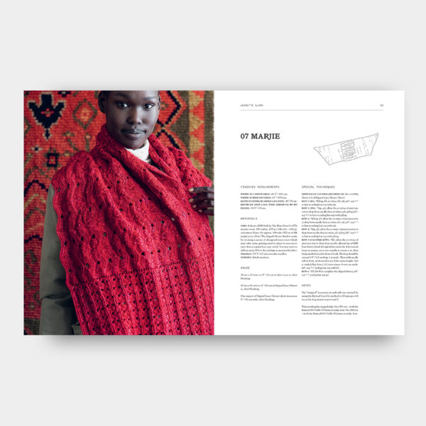 Double page featuring the Marjie shawl pattern designed by Jeanette Sloane and published in 52 Weeks of Shawls