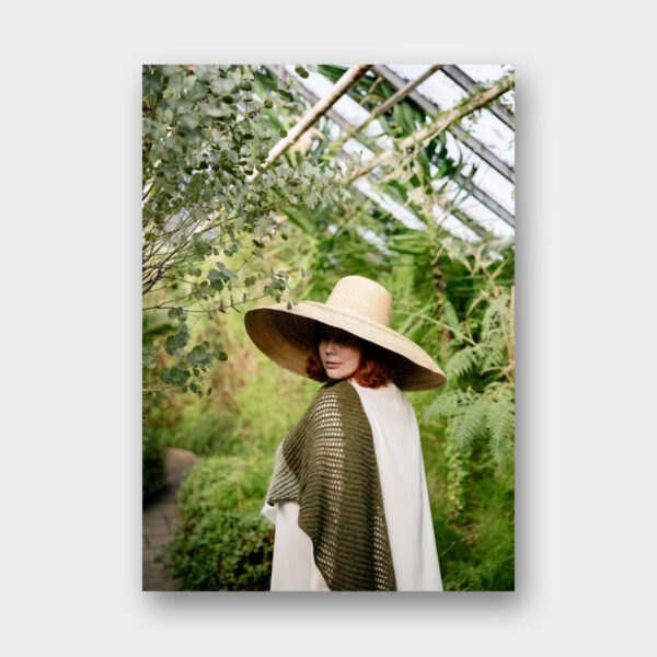 Photo featuring a knitted shawl, pattern to be found in Laine Magazine 11