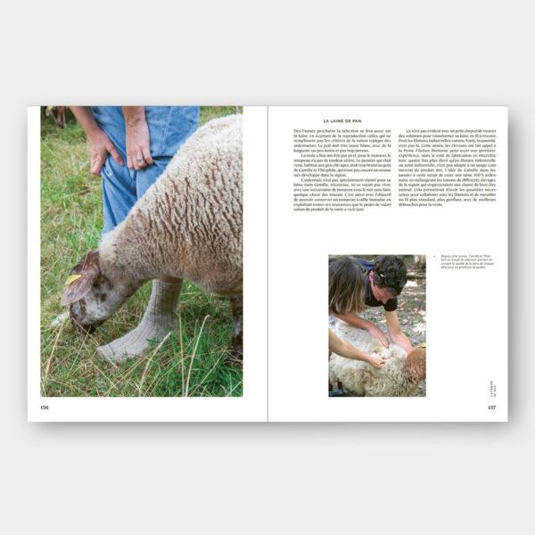 Présentation d'une page interview autour de la laine du livre French Tricot d'Alice Hammer