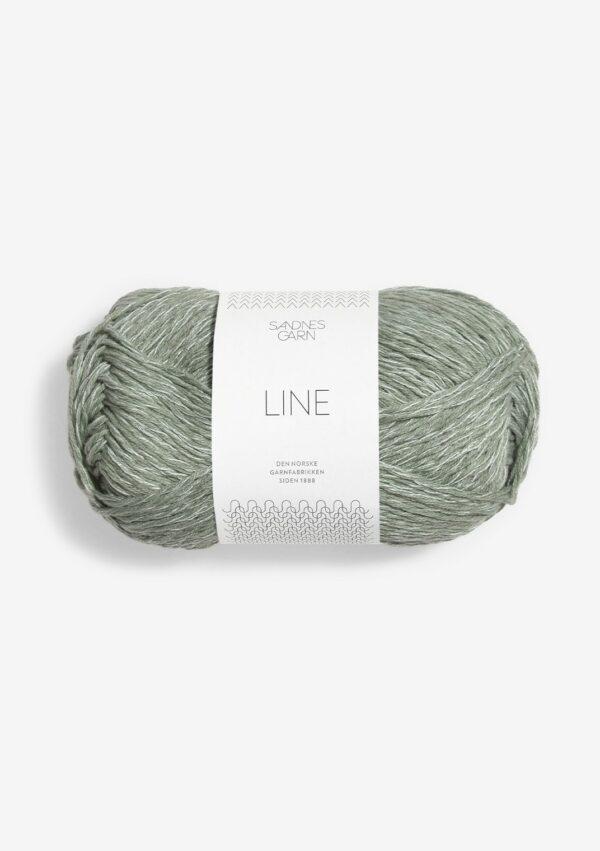 Une pelote de Line de Sandnes Garn coloris Stovet Lys Gron (vert de gris)