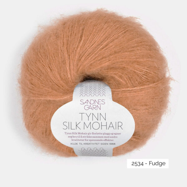 A ball of Sandnes Garn's Tynn Silk Mohair in the Fudge colorway