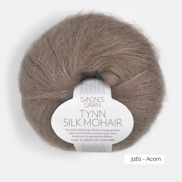 A ball of Sandnes Garn's Tynn Silk Mohair in the Acorn colorway