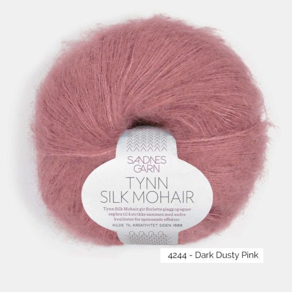 A ball of Sandnes Garn's Tynn Silk Mohair in the Dark Dusty Pink colorway
