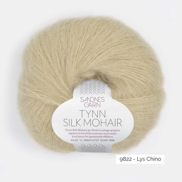 A ball of Sandnes Garn's Tynn Silk Mohair in the Lys Chino colorway