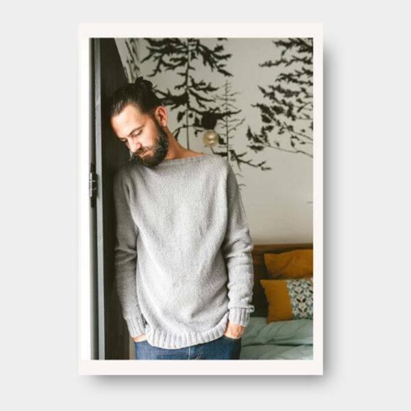 Présentation du modèle de pull pour homme proposé dans le livre de Nadège Chenu, Je tricote mon premier pull en circulaire