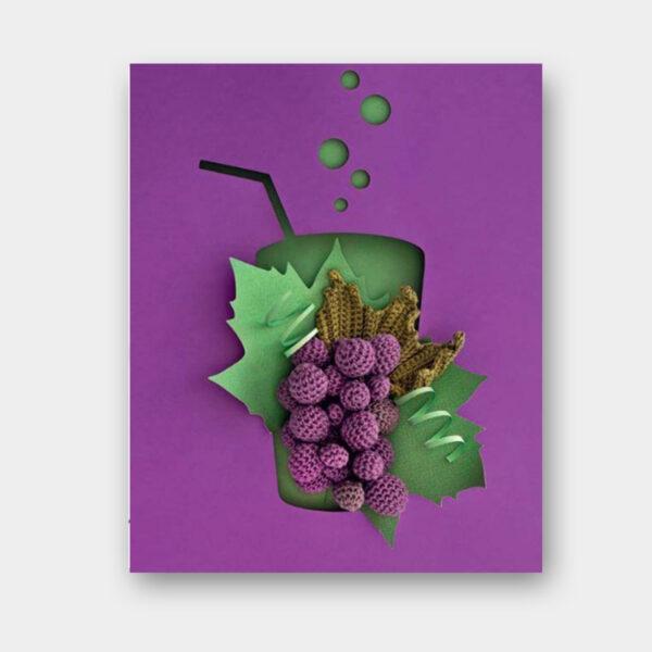 Présentation d'une grappe de raison, modèle paru dans le livre Dînette, Fruits, légumes et douceurs au crochet de Laetitia Dalbies