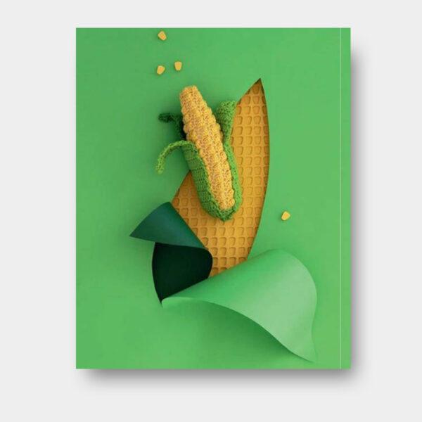 Présentation d'un épi de maïs, modèle paru dans le livre Dînette, Fruits, légumes et douceurs au crochet de Laetitia Dalbies
