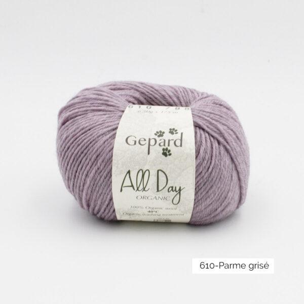 Une pelote de All Day Organic de Gepard Garn dans le coloris Parme Grisé