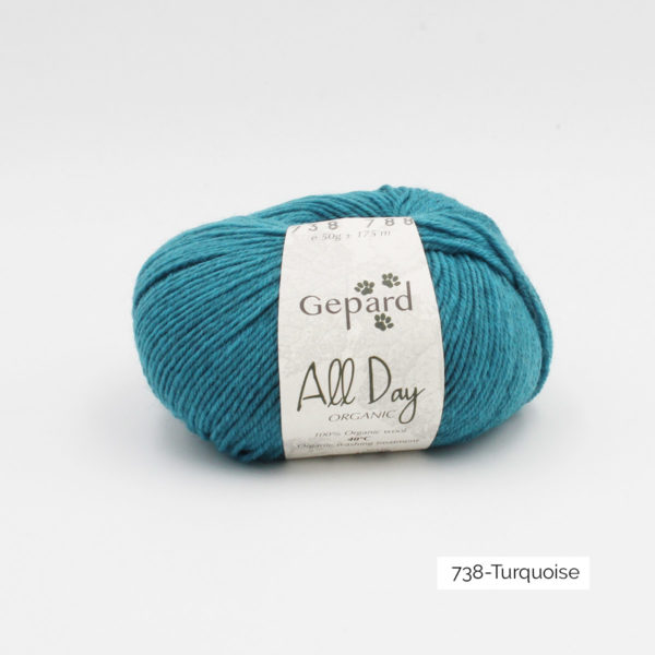 Une pelote de All Day Organic de Gepard Garn dans le coloris Turquoise