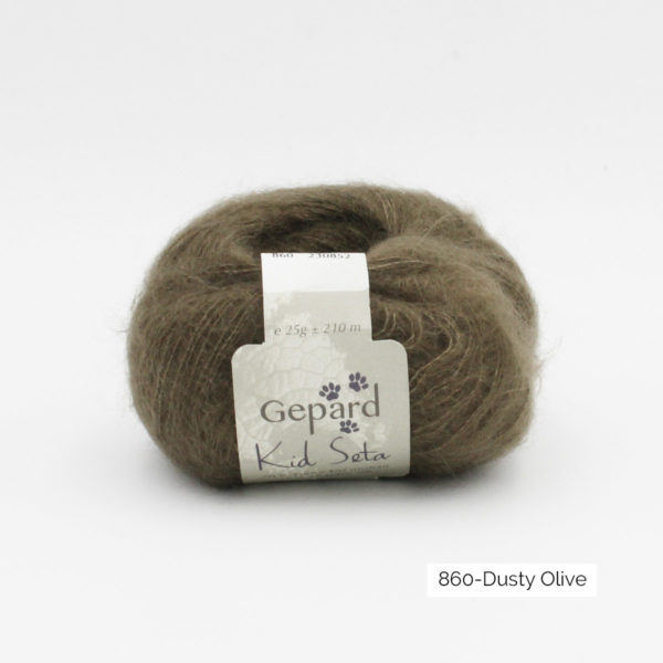 Une pelote de Kid Seta de Gepard Garn coloris Dusty Olive
