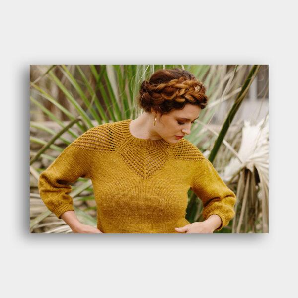 Présentation du modèle de pull Lodestar de Kjerstin Rovetta, patron de tricot paru dans le magazine Pom Pom Quarterly 37